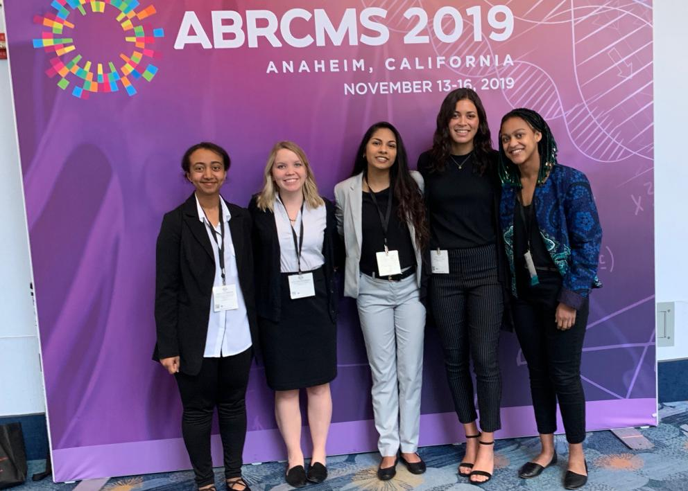 Five participants pose for picture at 2019 ABRCMS Conference