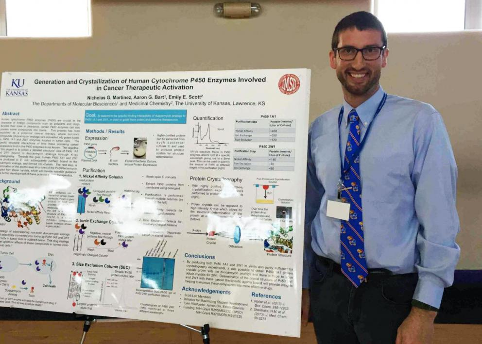 Student presenter standing next to their poster at the KU/Haskell Undergraduate Research Symposium