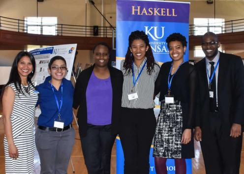 Six participants pose for picture at KU/Haskell  Undergraduate Research Symposium