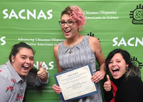 Three participants pose for picture at 2020 SACNAS Conference